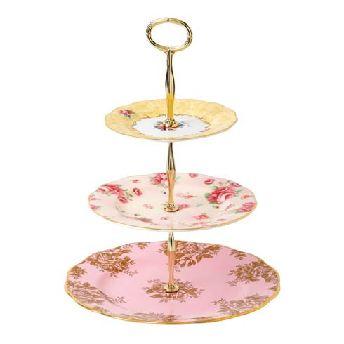 $115.00 Cake Stand Three-Tier (Bouquet, Rose Blush & Golden Rose)