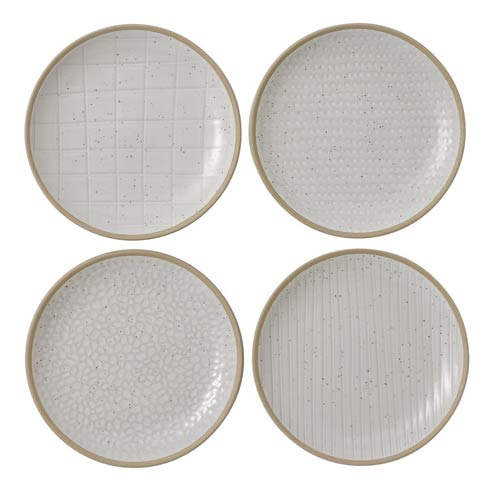 "$28.00 Plate 6"" Mixed White Set of 4"