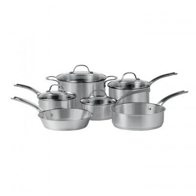 Royal Doulton  Maze Induction Cookware Brushed Stainless Steel 10-Piece Set (Glass Lids) $249.99