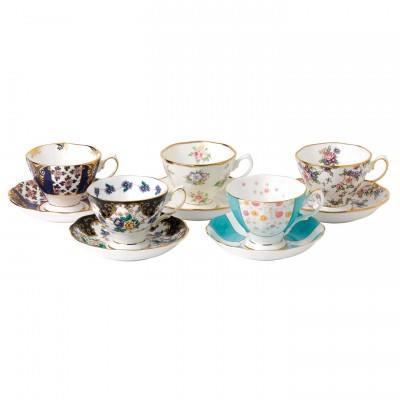 $172.00 1900-1940 5-Piece Teacup & Saucer Set