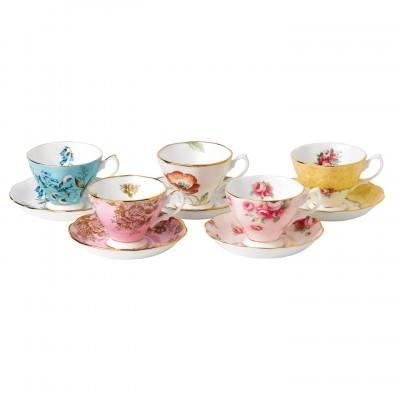 $172.00 1950-1990 5-Piece Teacup & Saucer Set