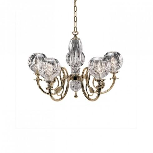 5-Arm Polished Brass Finish Chandelier