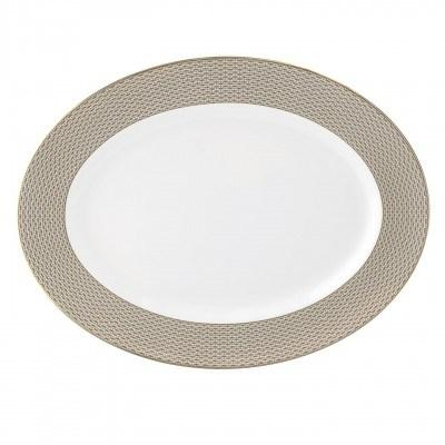 """Waterford  Lismore Diamond Gold Oval Platter 15.25"""" $195.00"""
