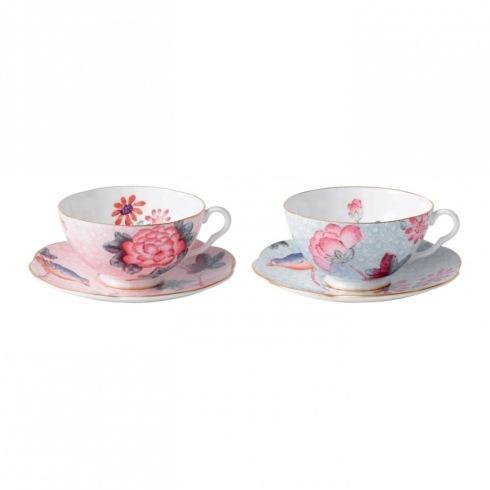Teacup & Saucer Set/2 Pink & Blue
