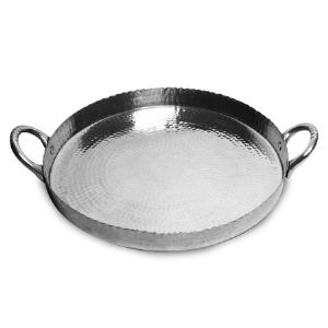 India Handicrafts   Round Hammered Tray With Handles $43.95