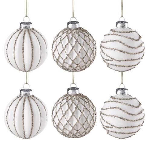 $67.00 Golden Glitter 6-Piece Snowball Ornament Set