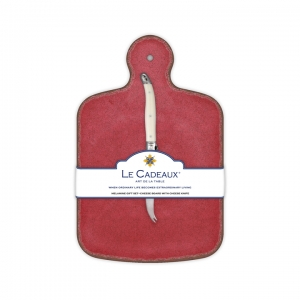 Le Cadeaux   Cheese Board with Cream Laguiole Cheese Knife, Antiqua Red $34.95