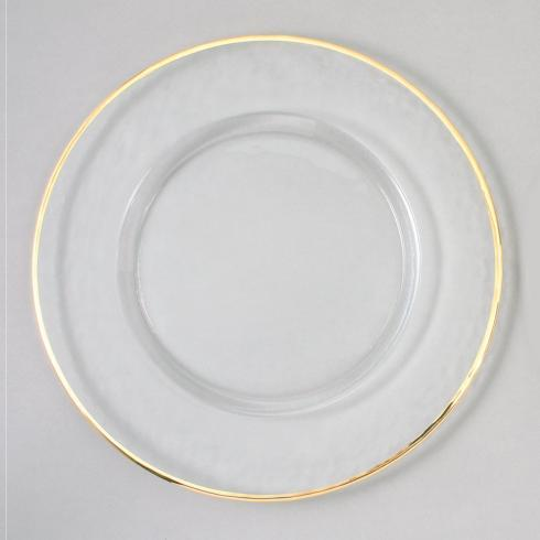 "Elegance by Leeber   13"" CLEAR GLASS CHARGER with Gold Rim $25.00"