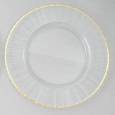 """$25.00 13"""" Ray/Gold Rim Charger"""