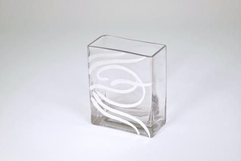 "$48.00 6"" rectangular vase swirl silver"