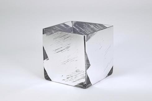 "$40.00 4"" cube vase slash silver"