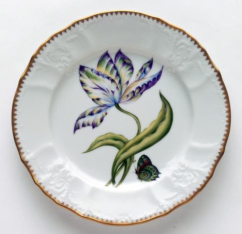 Yellow, Green, Purple & Blue Tulip Salad Plate