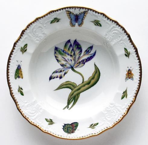 Yellow, Green, Purple, & Blue Tulip Rim Soup Plate