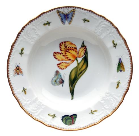 Yellow & Red Tulip Rim Soup Plate