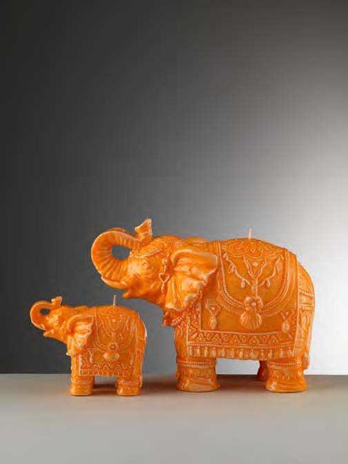 Small Orange Elephant Candle