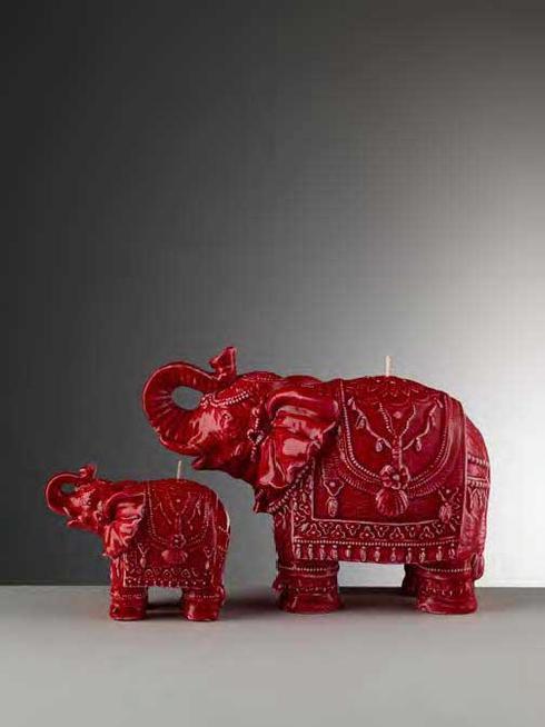 Medium Red Glazed Elephant Candle