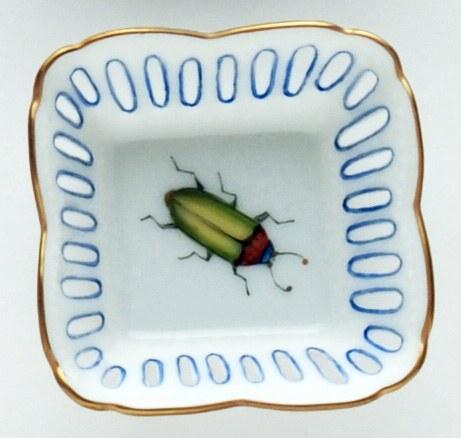 Small Square Dish Green Bug