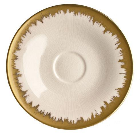Opal Tea/Breakfast Saucer with Gold Brushstroke