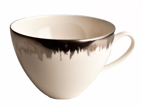 Opal Tea/Breakfast Cup with Platinum Brushstroke