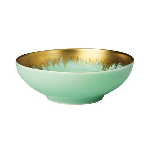 Sea Glass Cereal Bowl with Gold Brushstroke