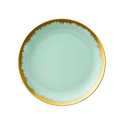 Sea Glass Dinner with Gold Brushstroke