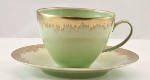 Spearmint Tea Cup with Gold Brushstroke