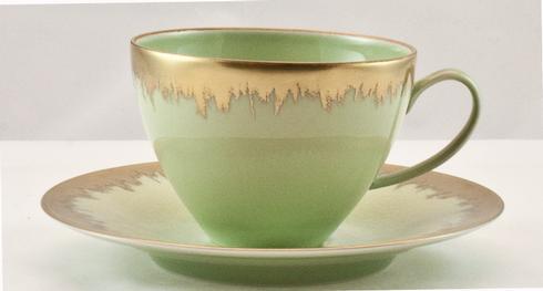 Spearmint Tea Saucer with Gold Brushstroke