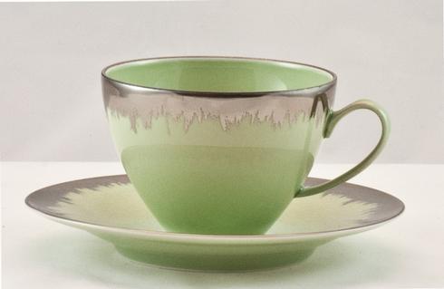 Spearmint Tea Saucer with Platinum Brushstroke