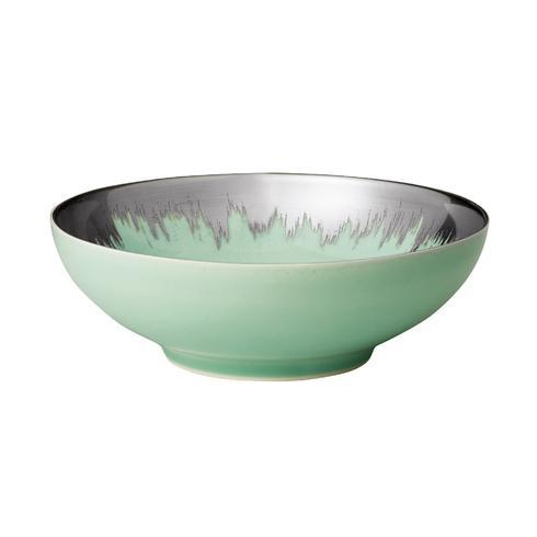 Sea Glass Cereal Bowl with Platinum Brushstroke