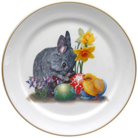 Easter Bunny with Chick and Eggs Plate