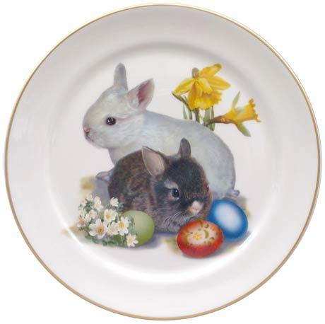 Easter Bunnies with Eggs Plate