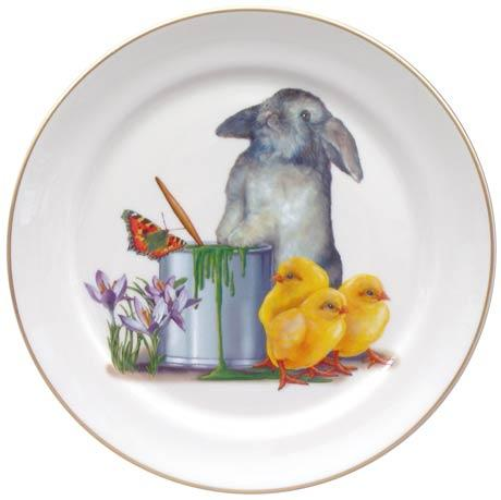 Easter Bunny with Chicks and Paint Can Plate
