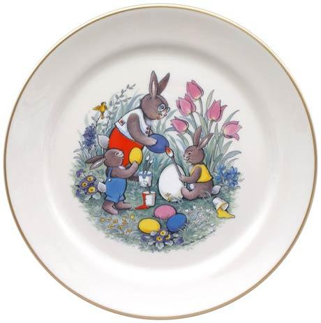 Easter Bunnies Painting Eggs Plate