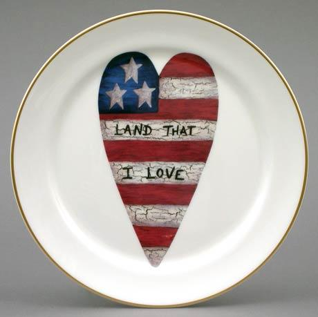 Flag Heart Plate