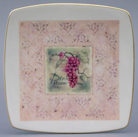 Pink Muscat Grapes Square Plate