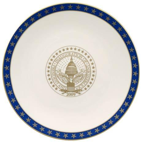 President Barack Obama Commemorative Gift Plate for 2009 Inauguration with Blue Star Border