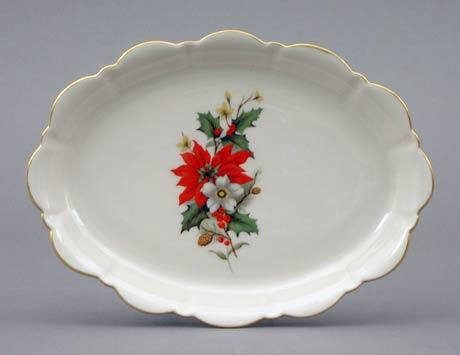 Poinsettia Large Oval Mint Tray
