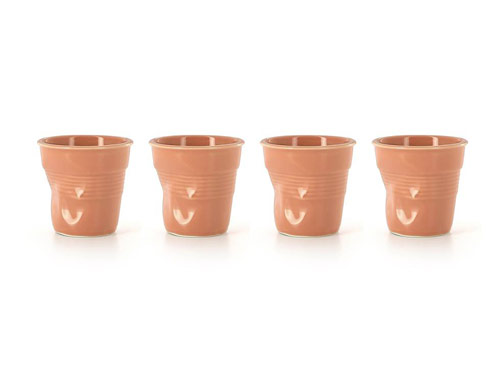 $62.99 Set of 4 Cappuccino Crumpled Tumblers