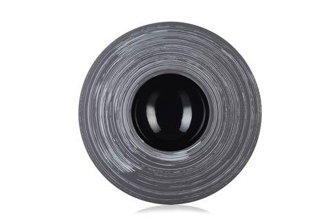 $140.00 Sphere Plate - Glossy Black Silver Crescendo
