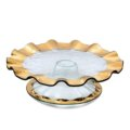 "Annieglass Ruffle 14 1/4"" pedestal cake plate (5"" high)"
