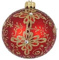Badash Holiday Ornaments 4 Pcs Matt Red/Gold 3.25