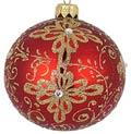 Badash Holiday Ornaments  Matt Red/Gold 3.25