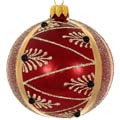 Badash Holiday Ornaments 4 Pc Set Burgundy Pearl Mouth Blown Polish Glass Ornaments 4
