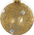 """Badash Holiday Ornaments Gold & Clear European Mouth Blown & Hand Decorated 3.25"""" Round Ornament"""