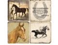54 STONE HORSE COASTERS SET/4 W/ IRON STAND