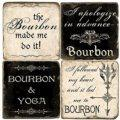 54 BOURBON STONE COASTERS SET/4 W/ IRON STAND