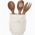 Kate Spade Cannon Street Owl utensil crock with servers