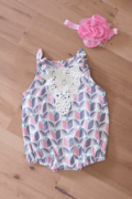 $53.00 PNC - Pink & Purple Romper with Bow