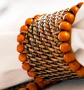 Calaisio Table Collection Handwoven Napkin Ring Beaded Napkin Ring Orange