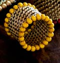 Calaisio Table Collection Handwoven Napkin Ring Beaded Napkin Ring Yellow Set of 4 pcs